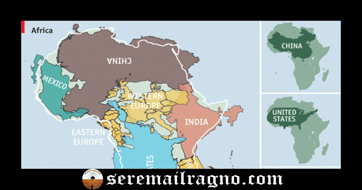 L'Africa è enorme: la scala utilizzata nelle cartografie comuni è errata