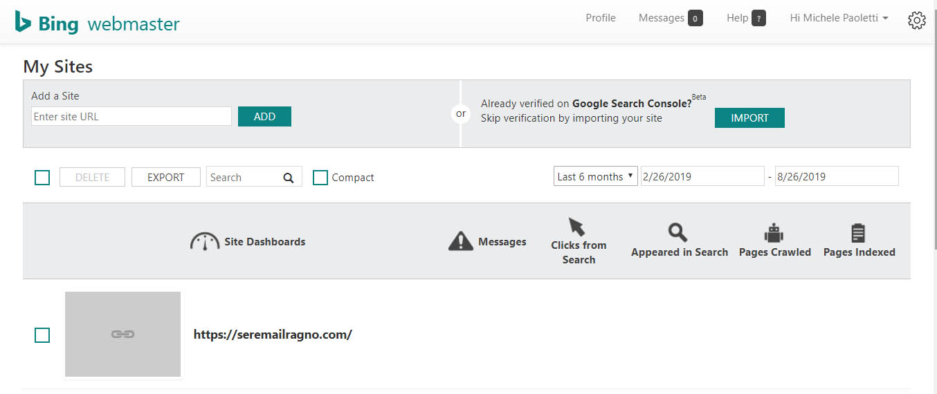 Import data in Bing Webmaster from Google Search Console